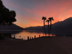 Sunset at the lake in Ascona.